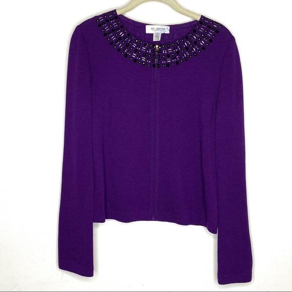 St. John Collection purple beaded Santana knit